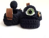 Black Monster Baby Moccasins