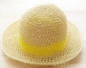 Bright Neon Yellow Stripe Summer Straw Hat