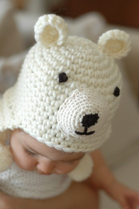 Reserved Listing Polar Bear Earflap Baby Hat for Winter