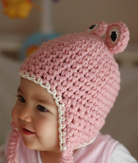 Newborn Pink Baby Girl Crochet  Frog Hat Available size up to 3 Months