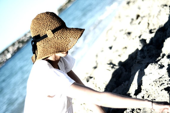 Adjustable Crochet Summer Straw Sun Hat