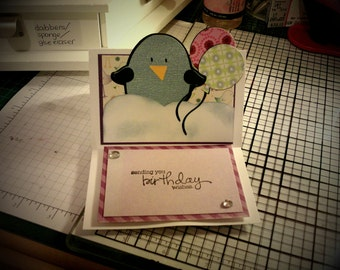 Birthday birdy with balloons stand-up card