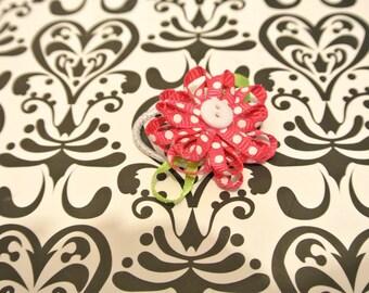 Red / white polka dot flower hair tie
