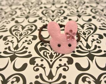 Pink bunny hair tie
