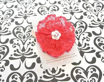Red lace flower swarvoski hair tie