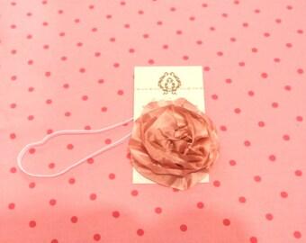 Pink flower stretchy headband