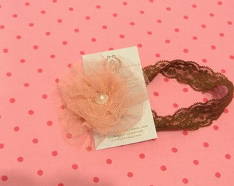 Peachy flower lace headband