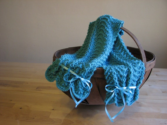 knitted teal scarf - 1900s/1920s inspired