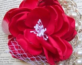 Pink Flamingo Blossom: Hot Pink Blossom with Sparkly White Stamen, Veiling Detail and Feather Accents