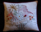 Americana Pillow, Old Glory, Flag, Fireworks, Primitive Decor, Americana Decor, Independence Day, Stitchery Pillow, MADE TO ORDER