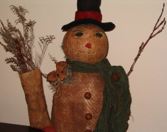 Primitive Grungy Snowman and Mouse - MADE TO ORDER