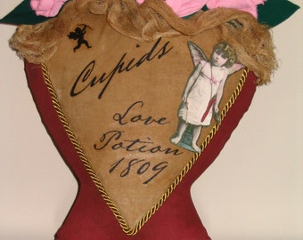 Valentine's Day, Cupids Love Potion 1809, Valentine Heart, Pink Roses, Flowers for Valentine, Primitive Decor, Angel Graphic, Bow and Arrow