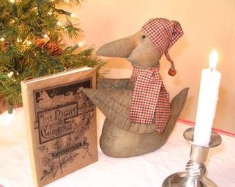 Christmas Primitive Crow Twas the Night Before Christmas Book - MADE TO ORDER