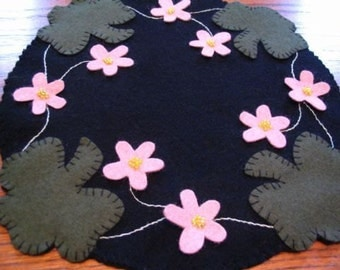 Shamrocks and Flowers Wool Candle Mat