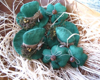 Primitive Leprechaun Hats and Shamrocks, St Patricks Day, Bowl Fillers, MADE TO ORDER