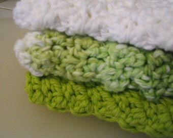 Set of 3 Crochet Cotton Dish Cloths