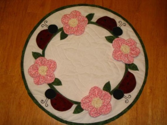 Quilted Candle Mat, Appliqued Centerpiece, Lady Bug Candlemat, Dimensional Flowers, Ladybugs, Machine Quilted Doily, Spring Mat,