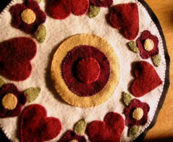 Hearts and Flowers Wool Applique Penny Rug Candle Mat