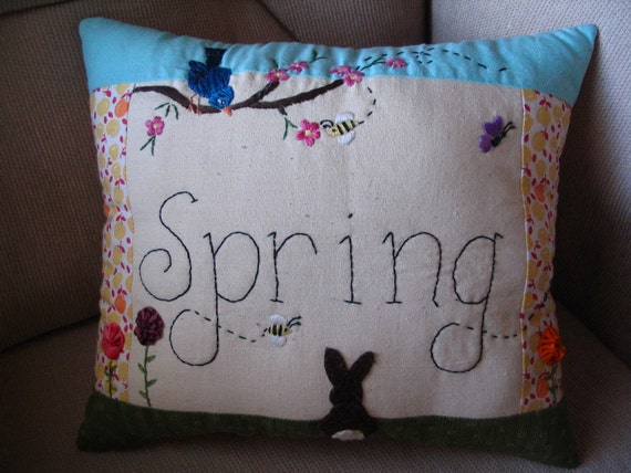 Hand Embroidered Wool Applique Spring Rabbit Bird Flower Pillow