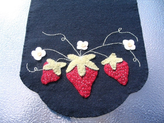 Strawberry Trio Wool Table Runner