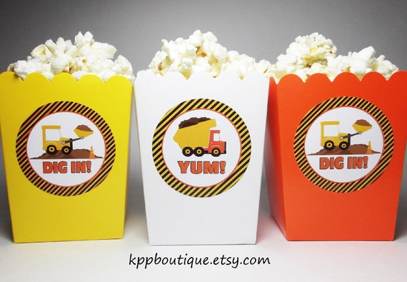 Construction Birthday Popcorn Snack Boxes