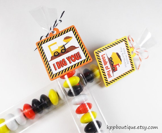 Construction Mini Favor Tags & Candy Bags