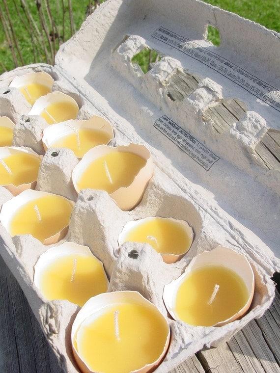 Pure Beeswax Farm Fresh Eggshell candles-half dozen