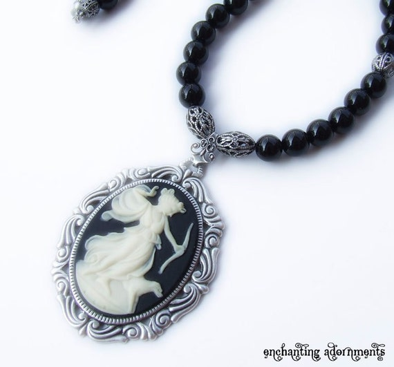 Artemis the Huntress Onyx Beaded Cameo Necklace