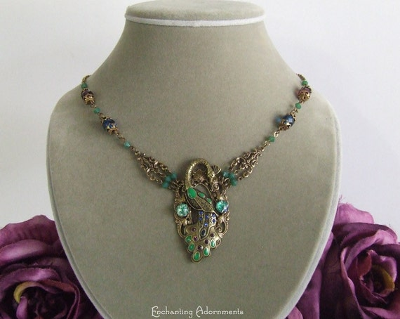 The Peacock Goddess Antique Brass Gem Necklace