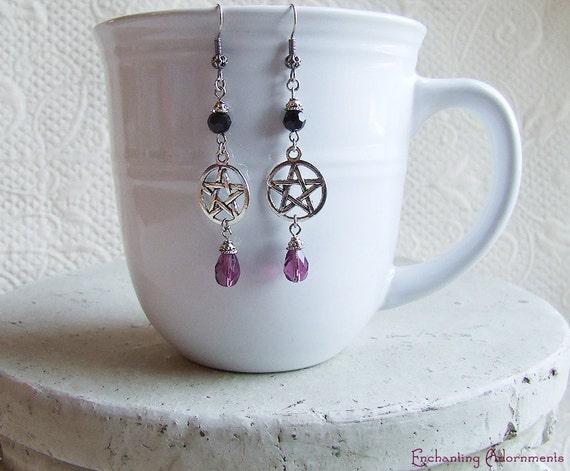 ENCHANTRESS Pentagram Amethyst and Jet Crystal Earrings