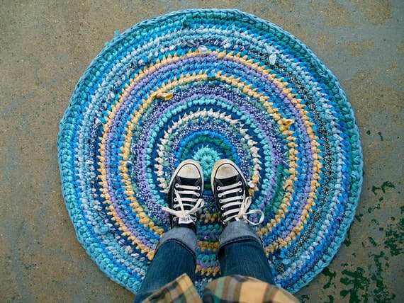 Blue & Yellow Recycled Rag Rug