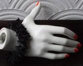 Reserved for NATASHA - high couture black boa rubber bangle - free shipping