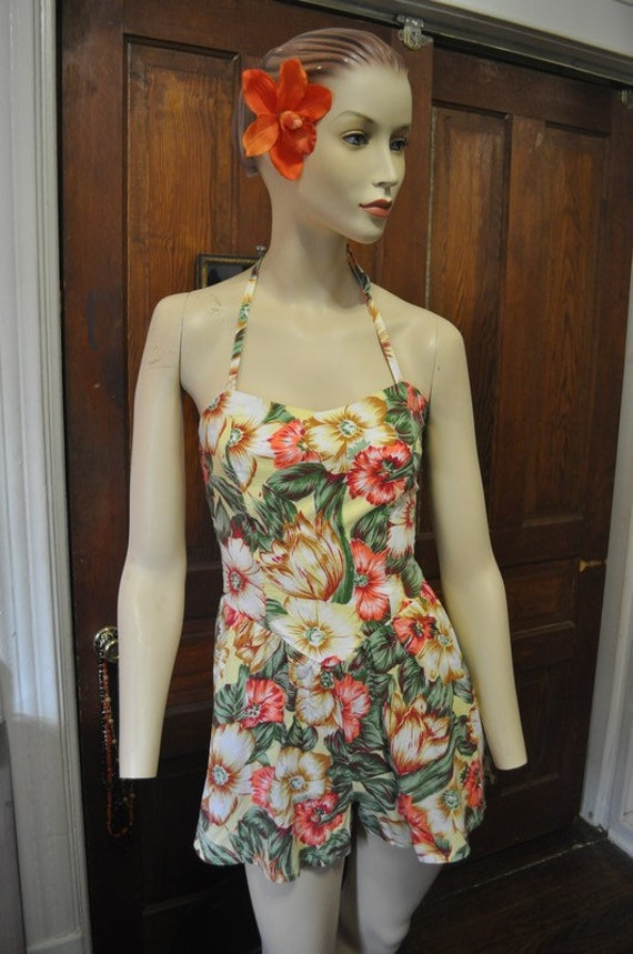 80s Does 40s vintage Play suit Bathing Beauty pinup Old Hollywood Romper