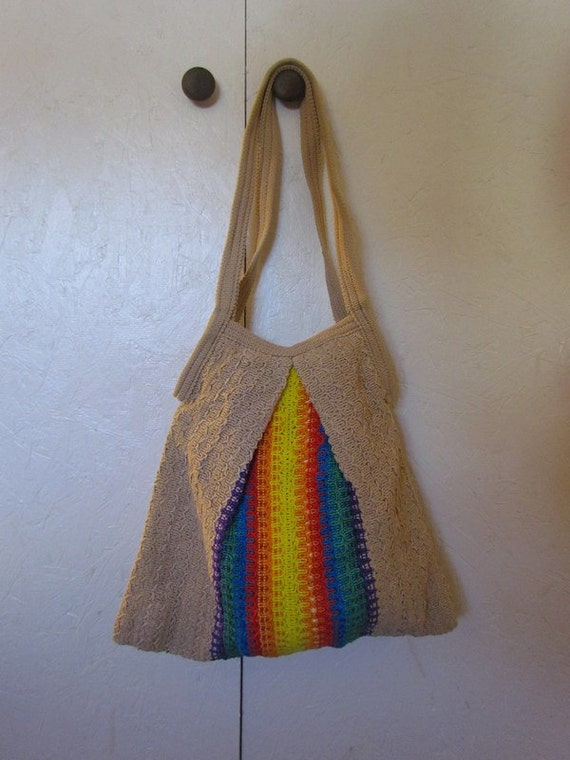 Vintage hippie Hobo Rainbow Macrame beach bag Purse