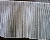 Pleated white sparkle organza fabric sewing trim for bridal, couture, costumes, cake decorating 2 yards