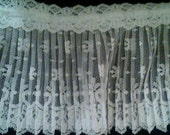 Crystal pleated white lace fabric sewing trim for bridal,altered couture, evening wear, lingerie, decor 2 yards