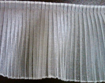 Pleated white sparkle organza fabric sewing trim for bridal, couture, costumes, cake decorating 18 yards