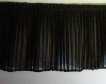 Pleated black sparkle organza fabric sewing trim for prom dress, evening couture, costumes, decor 2 yard
