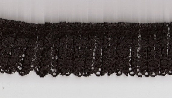 Box pleated black nylon lace fabric sewingtrim for altered or art or couture, prom, decor 14 yards