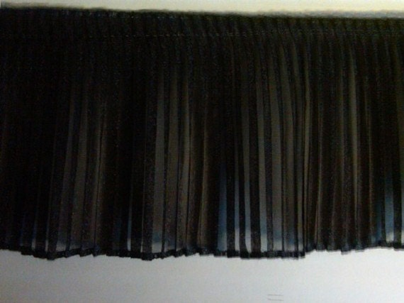 Pleated Black Sparkle Organza Fabric Sewing Trim For Prom