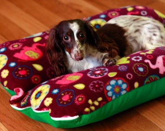 Bunbed, Dachshund Dog bed, Small Dog Bed - Purple Retro Elephants Dog Bed, Burrow Bed, Whimsical Dog Bed