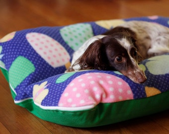 Mushrooms Butterfly Retro Blue Green Deluxe Bunbed Dog bed for Dachshunds, small dogs - Dachshund Bed, Dog Burrow Bed