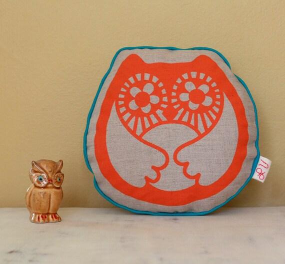 Linen Retro Orange Little Owl Pillow Screen Printed w/ blue edge