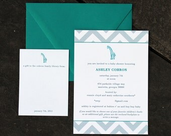 gender netrual baby shower invitations with bookplates - giraffe with chevrons (turquoise and grey)