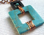 Large Howlite Wood and Copper Pendant on Copper Chain (0089)