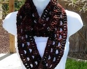 SUMMER SCARF Infinity Loop Cowl, Brown, Rust, Tan Dark Multicolor Lightweight Small Skinny Circle, Crochet Knit..Ready to Ship in 3 Days