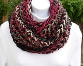 INFINITY SCARF Loop Cowl Red, Wine, Off White, Dark Green, Bulky Thick Soft Long Crochet Knit Winter Circle Wrap..Ready to Ship in 2 Days