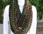 INFINITY SCARF Loop Cowl, Brown Green & Off White Camo, Extra Soft Thick Crochet Knit Winter Camouflage Neck Warmer..Ready to Ship in 2 Days