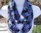 SUMMER INFINITY SCARF Cowl Loop, Purple Teal Blue Green, Soft Lightweight Crochet Knit Endless Circle, Neck Warmer..Ready to Ship in 3 Days