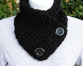 NECK WARMER SCARF Basic Solid Black w/ Black Buttons Super Soft 100% Acrylic Crochet Knit Buttoned Cowl Scarflette..Ready to Ship in 2 Days